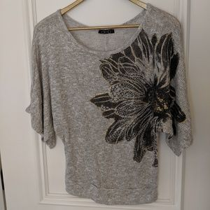 Gold and black flower dolman sleeve top